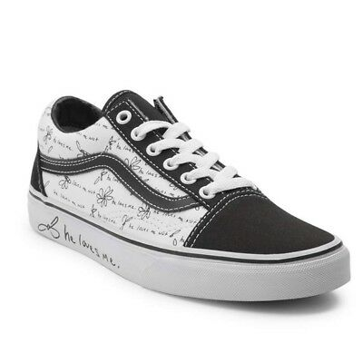 Vans Old Skool He Loves Me Not White Black Yellow Shoes Choose Your Size Unisex