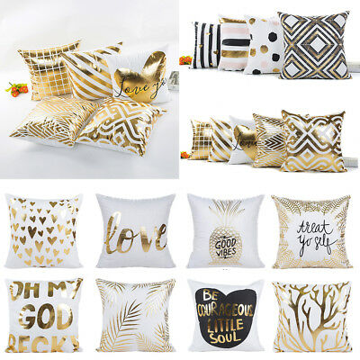 Polyester Gold Foil Printed Cushion Cover Geometric Throw Pillow Case Home Decor
