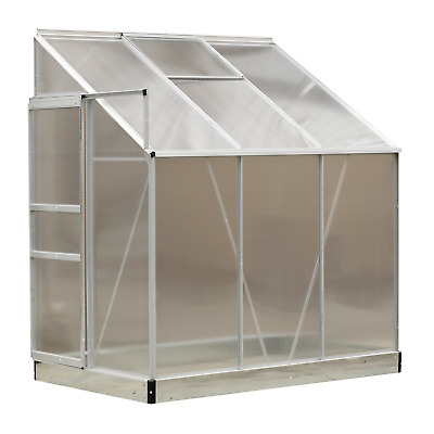 Outsunny 6 x 4FT Aluminum Lean to Garden Sun room Greenhouse Enclosure with...