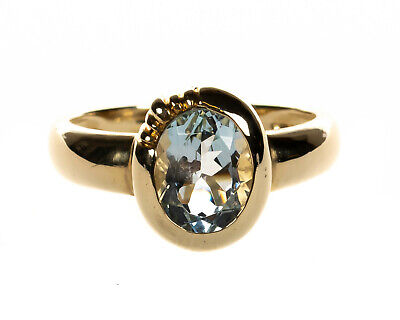 Damen Ring in Gold 585 mit Aquamarin Gr. 55 (D1412)