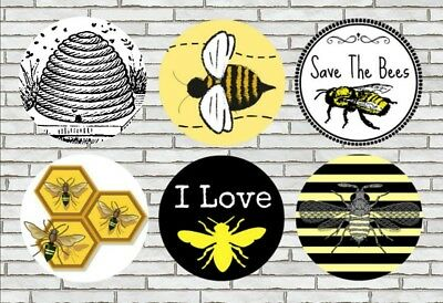 """Bumble Bee Set of 6 Magnets Pinback Buttons Or Flat Backs For Scrapbooking 1.25"""""""