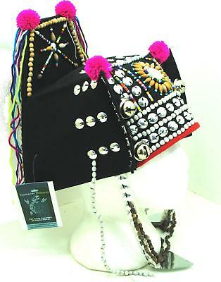 Tribal Thai Hmong headgear hat handmade traditional multicoloured poms shells