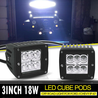 "2Pcs Double LED Light 18W 3X3""In Pods Light Backup Cube Light For Ford Duck Boat"