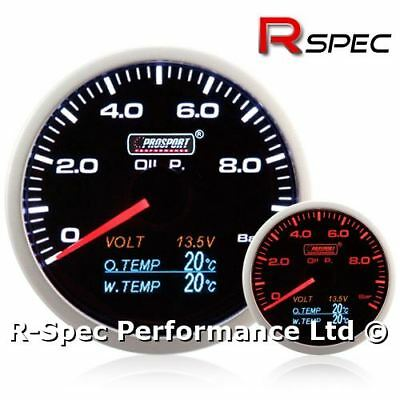 Prosport 60mm 4 In 1 Multi Display Gauge Oil Pressure, Oil Temp, Water Temp,Volt