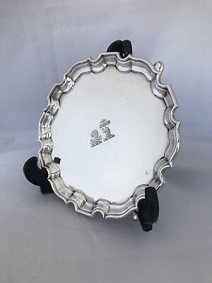 Victorian Sterling Silver Crested Tray 1897 London CHARLES STUART HARRIS