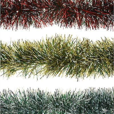 2m 6ply Thick Garland Snow Tipped Tinsel Christmas Tree Home Decoration Festive