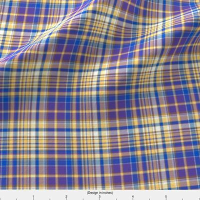 Yellow Purple Tan Blue Fabric Printed by Spoonflower BTY