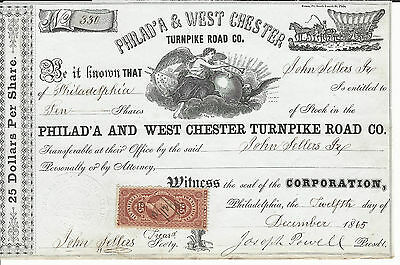 1865 PENNSYLVANIA Philad'a & West Chester Turnpike Road Co Stock Certificate