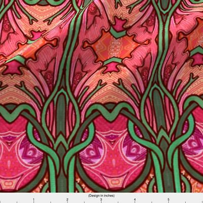 Art Nouveau Then Came Summer Fabric Printed by Spoonflower BTY
