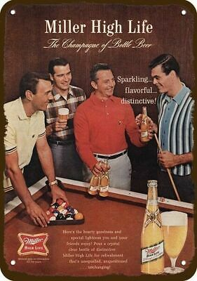 1965 MILLER BEER Vintage Look REPLICA METAL SIGN - MEN BILLIARDS BALL POOL TABLE
