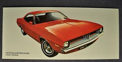 1972 Plymouth Barracuda Hardtop Postcard Brochure Excellent Original 72