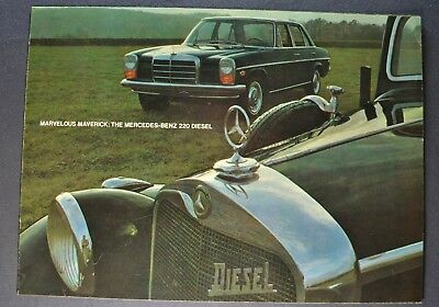 1968-1969 Mercedes-Benz 220D Diesel Sales Brochure Folder Excellent Original