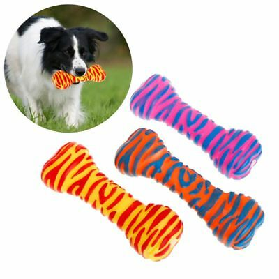 Pet Toys Rubber Bone Shape Stripe Squeaky Sound Dog Interactive Chew Teeth Clean