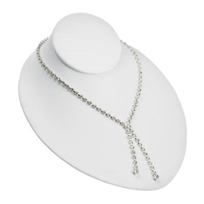 Adjustable White Faux Leather Necklace Bust