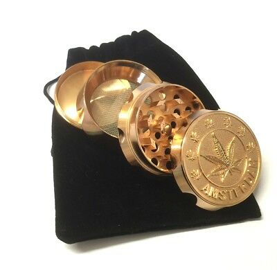 50mm AMSTERDAM LEAF ROSE GOLD COLOUR MAGNETIC METAL 4 PART TOBACCO GRINDER