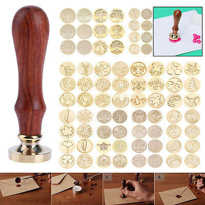 Retro Vintage Wooden Wax Gift Seal Stamp Ancient Invitation Envelope Sealing Kit