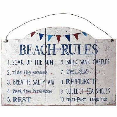 Shabby Metal Chic - BEACH RULES - Sign Vintage Retro Rustic Wall Sign