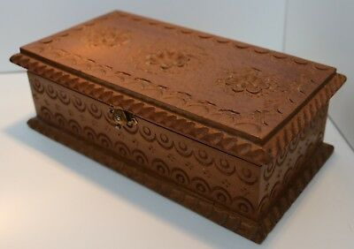 Vintage Carved Wooden Box / Jewellery Trinket Hinged Lid Antique Chest Mirror 20