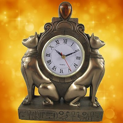 Table Clock,Clock Cat Polystone Bronze Coloured H.23x17x7cm Mantle Watch
