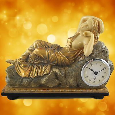 Mantle Table Clock Woman Embedded Polystone Golden Color L.27x20cm Watch