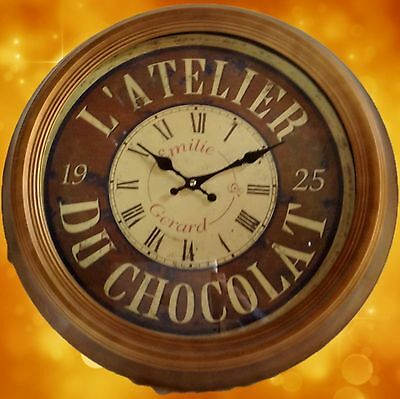Wall Clock of Chocolate One Gift round Diameter = 47 x H = 5 cm Vintage