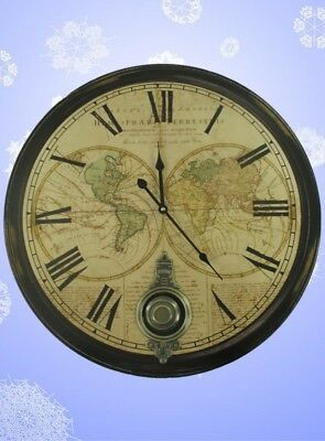 Wall Clock World Watch Digits round Diameter=60cm Wood Vintage Aesthetics Rarity