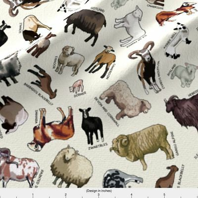 Sheep Parade of the Exotic Breeds Fabric Printed by Spoonflower BTY