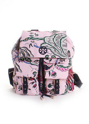 5de4906a90 Tory Burch Tilda Printed Nylon Flap Backpack in Pink Happy Times