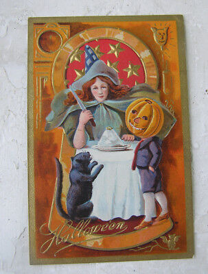 Vintage Embossed Halloween Post Card Witch Black Cat Jack O Lantern Boy Key Hole
