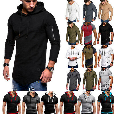 Mens Slim Fit Athletic Gym Muscle Hoodies T-shirt Tops Sports Long Sleeve Blouse