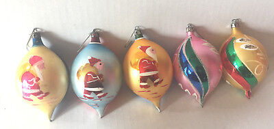 Vintage Poland Mercury Glass Teardrop Ornaments, Lot of 5 Hand Painted