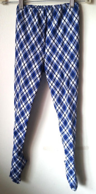 argyle girls tights vintage 60s 70s size 12 blue black white plaid with orig tag