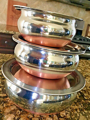 Set of 3 Nesting BOWLS & Lids  Stainless Steel - Copper Bottom (never used)