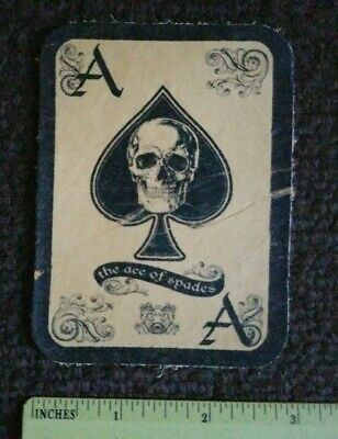LEATHER VINTAGE ACE OF SPADES DEATH CARD MOTORCYCLE BIKER  MILITARY PATCH sew on