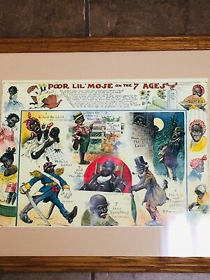 Poor Lil' Mose on the 7 ages Black Americana Print  in Frame