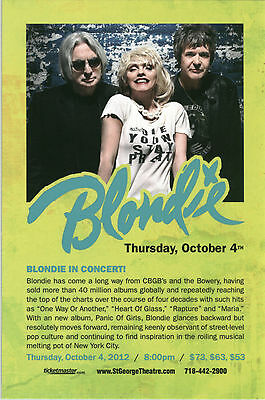 BLONDIE 2012 Staten Island NYC NY concert gig promo postcard + Debbie Harry *NEW