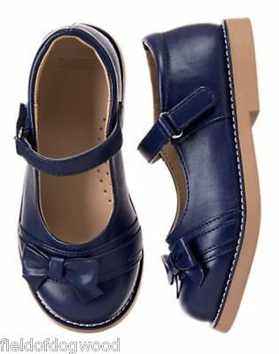 NWT Gymboree UNIFORM SHOP Navy Blue Bow Mary Jane Shoes 10,12,2,3,4