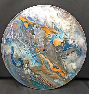 """Original Fluid Acrylic Pour Abstract Painting on Round 12"""" Vinyl Record"""