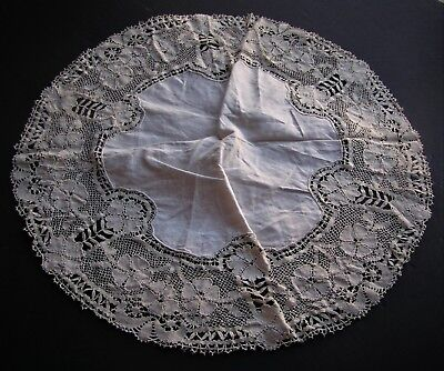 Vintage Bedfordshire Bobbin Lace Linen Handmade Off-White Doily 18""