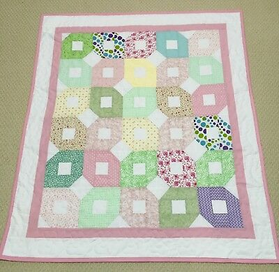 New Handcrafted Cotton Multicolored Diagonal Diamonds Star Baby Quilt