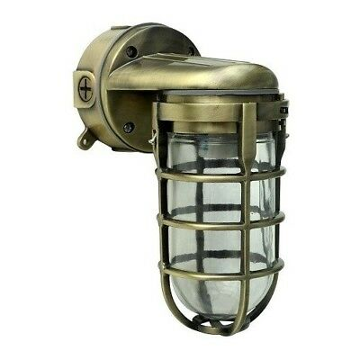 Outdoor Barn Light Fixture Sconce Industrial Wall Antique Brass Metal Caged New