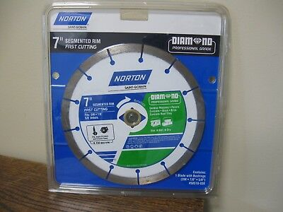 "New! NORTON SAINT-GOBAIN 7"" Segmented Rim Fast Cutting Saw Blade"