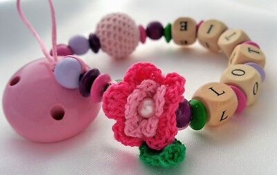 Personalised Wooden Dummy Clip Chain Pacifier / Baby Gift Shower / Crochet Dummy