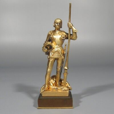 Hans Müller (1873-1937) Antique Austrian Bronze Statue, Medieval Knight, Dragon