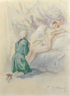 André Galland (1886-1965), Antique French Watercolor, Nude Woman, Signed, Listed