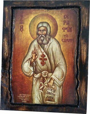 Saint St. Seraphim - Of Sarov - Orthodox icon on wood handmade (22.5 cm x 17)