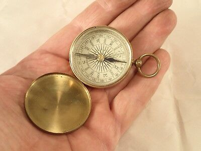 Vintage English 'Trademark London' Gentleman's Brass Pocket Compass