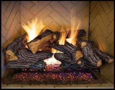 49bf370150e EMBERGLOW NATURAL GAS Fireplace Log Set Realistic Flame 24 Inch ...