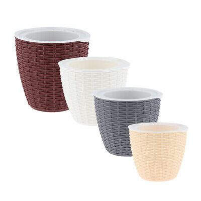 Self-Watering ABS Rattan Flower Pot Plant Home Office Decor S/M/L 3Sizes