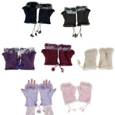 Ladies Fingerless Winter Gloves Womens Faux Suede Fur Trim Lined Gloves Mittens